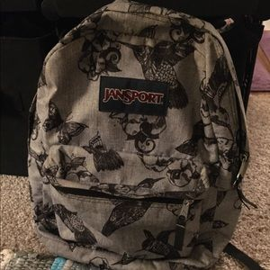 Jansport Grey and Black Butterfly Bird Backpack